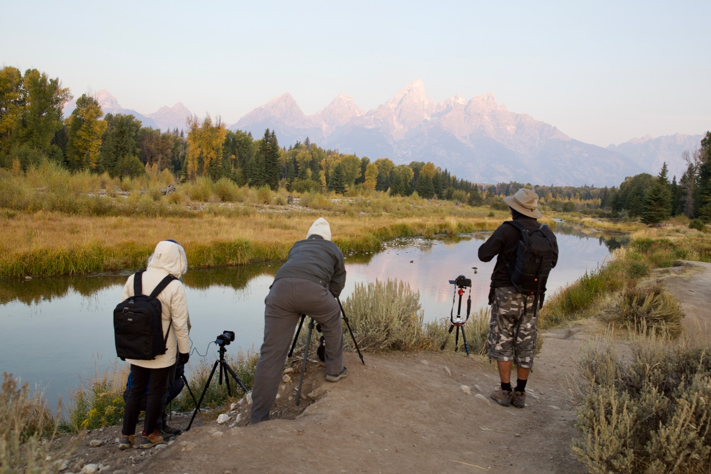 Photographers waiting for sunrise at Schwabacher Landing, Tetons, Wyoming