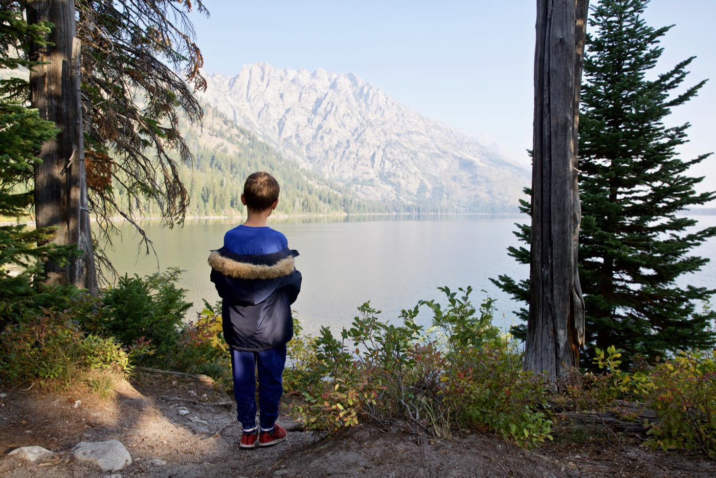 Kai viewing Jenny Lake, Wyoming