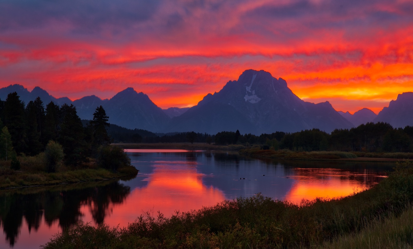 Sunset at Oxbow Bend, Tetons, Wyoming.