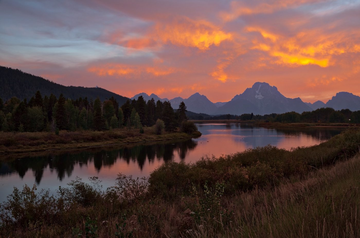 Sunset at Oxbow Bend, Wyoming.
