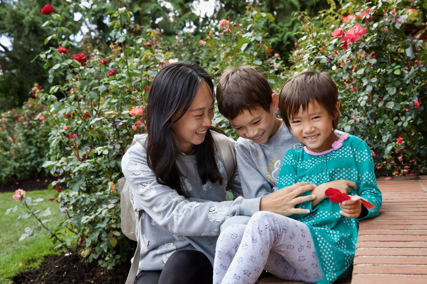 Lily, Kai and Heidi at Rose Test Garden, Portland, Oregon