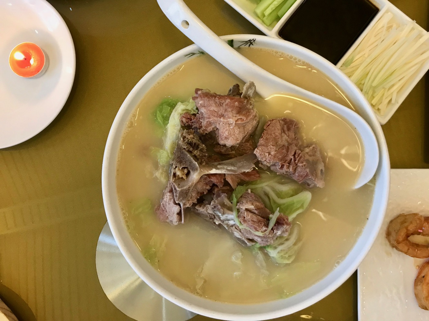 Lamb spine soup.  Lunch in Beijing, China.