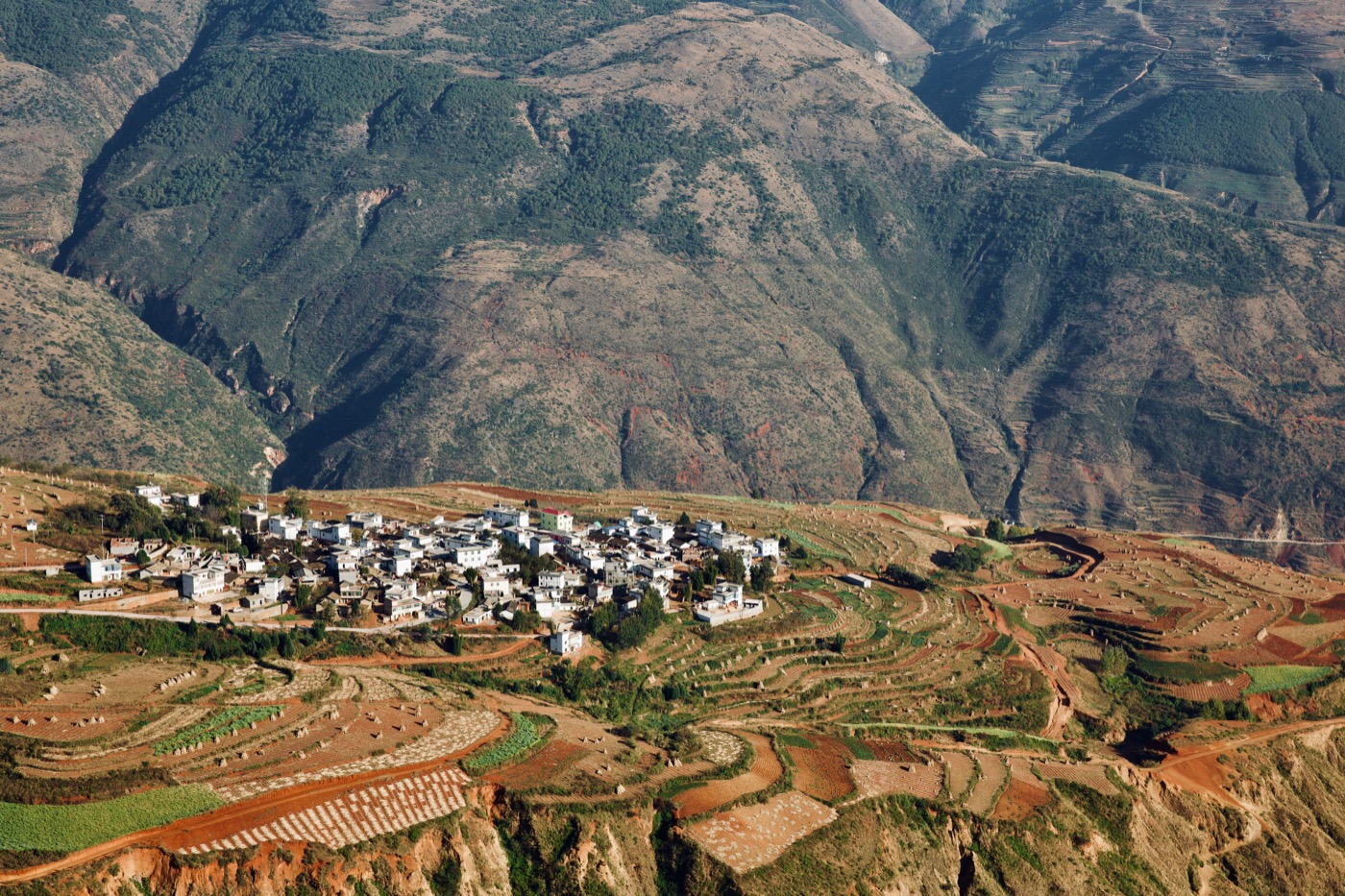 Nearby town.   Dongchuan, Yunnan, China
