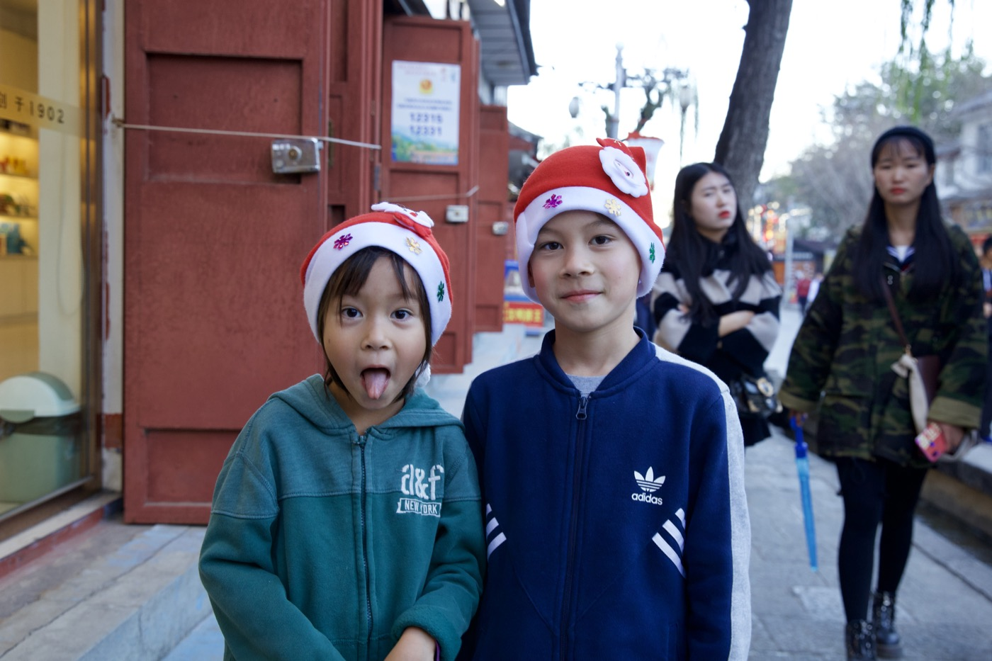 Christmas kids.  Dali, China
