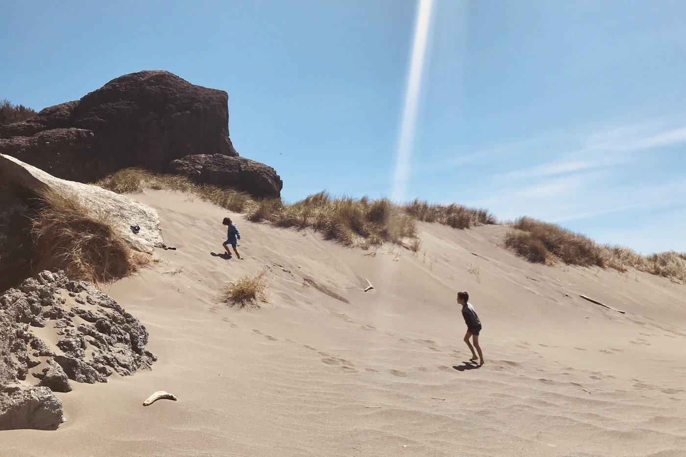 Kai and Heidi playing on the dunes.  Oregon coast.
