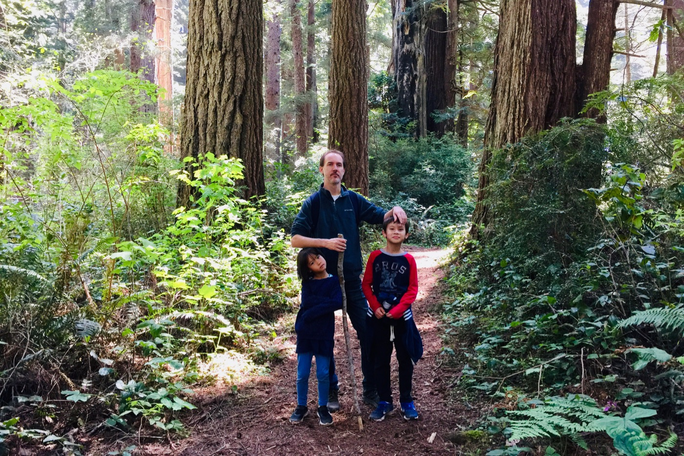 Ben, Heidi and Kai in Redwood National Forest.